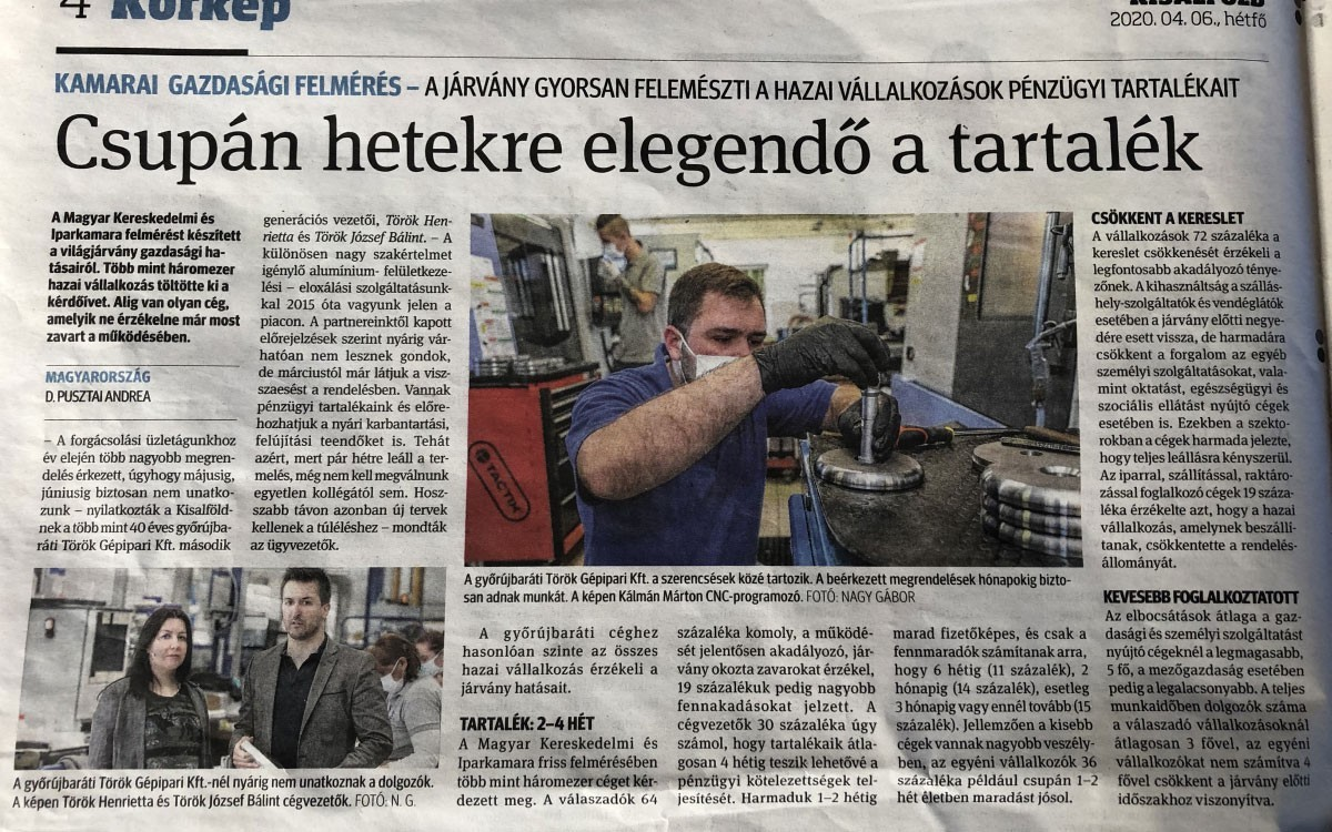 "Production is still undisturbed in our plants -An interview with the CEO in the local daily ""Kisalföld"""