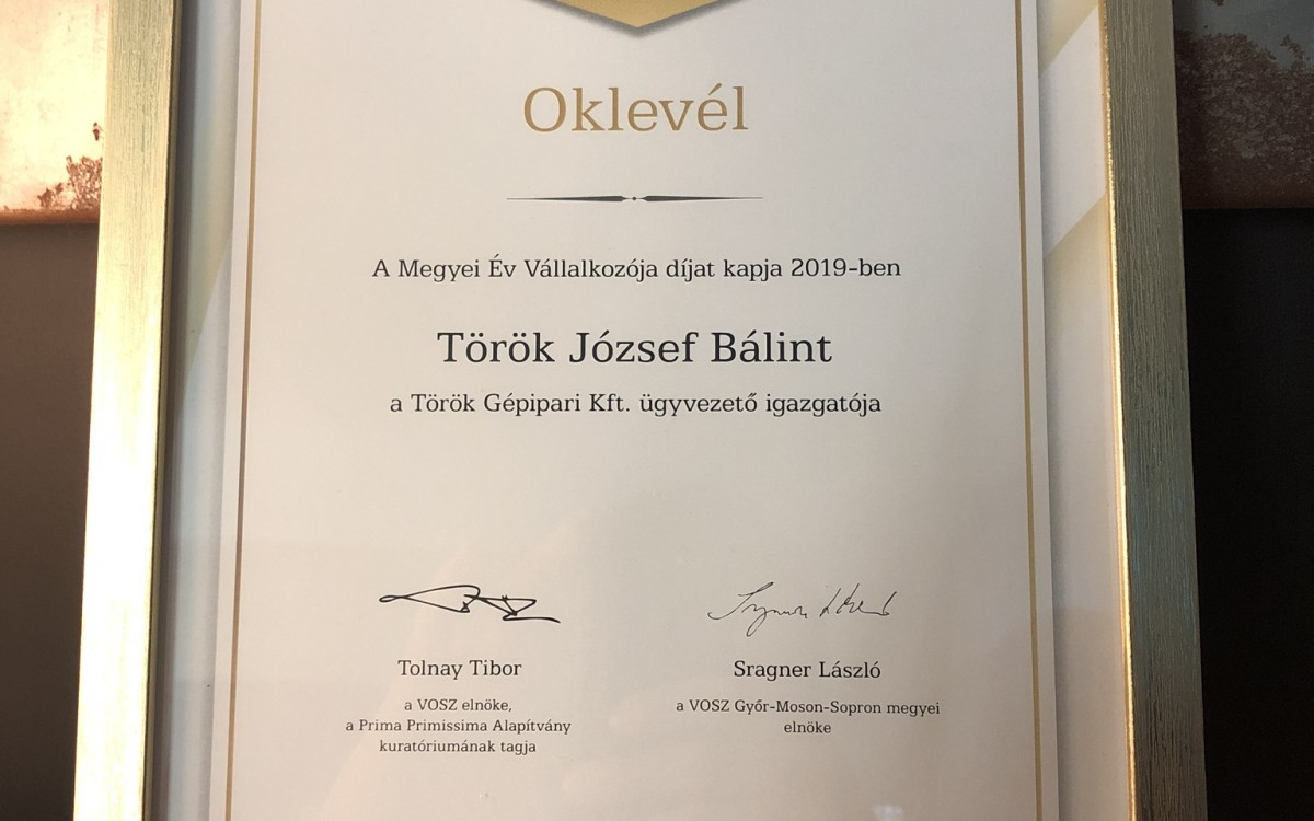 PRIMA- GY-M-S COUNTY AWARD – Entrepreneur of the Year for Török József Bálint